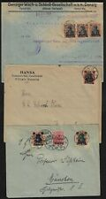 DANZIG 1920 THREE COVERS FRANKED GERMAN STAMPS OVPTD DANZIG & CANCELLED DANZIG