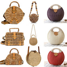 Woemn Straw Bag Summer Beach Rattan Shoulder Bags Wicker Weave Handbag Crossbody