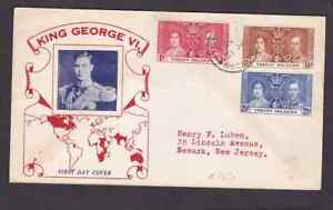 Virgin Islands 1937 FDC 1st day cover to the USA KGVI Coronation #3