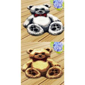2 Sets Knüpfteppich zum Selber Knüpfen Teppich Formteppich für Kinder und