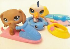 Littlest Pet Shop Dachshund 517 & Pelican 518  + Accessories Seaside Celebration
