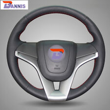 BANNIS Black Leather Steering Wheel Cover for Chevrolet Cruze Aveo