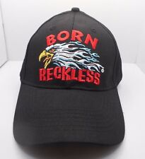 Biker Born Reckless Flaming Bald  Eagle Design Black Ball Cap Hat New NWT