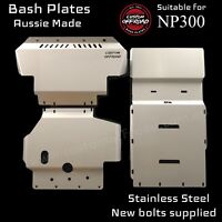 Navara NP300 3 Piece Bash Plate Set 3mm Stainless Steel - Front- Transmisson