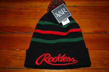 bc8a0eda5d5 NEW Men s Young and Reckless Red   Green Striped Knit Skull Beanie Hat