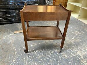 Vintage Antique Brown Wooden Tea Drink Trolley with Drawer Castors Wheels