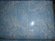 Ralph Lauren 100% Cotton Queen Flat Sheet Paisley Blue New Nwot