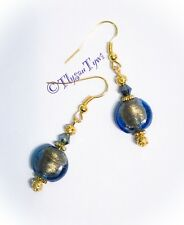 Blue Indian Glass /Gold Foil Earrings....Gold plated
