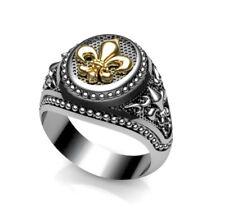 Fleur-de-lis Ring Masonic- Medieval Gold k14 & Silver 925