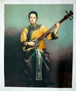 "Chinese oil painting music lady girl 20x24"" Repro figure art canvas"