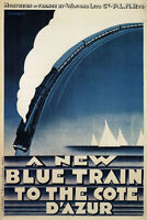 TX141 Vintage Blue Train To Cote D'Azur French Railway Travel Poster A2/A3