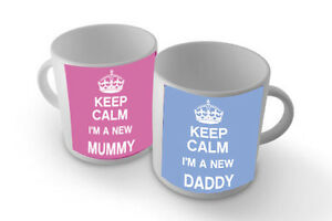 KEEP CALM I'M A NEW MUMMY/DADDY SET OF TWO-MUG/CUP/PRESENT/GIFT BABY SHOWER