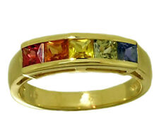 R164 Genuine 9K, 10K, 18K Gold Natural Rainbow Sapphire 5-stone Eternity Ring