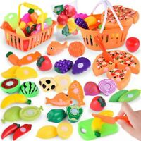 Pretend Role Play Kitchen Fruit Vegetable Food Toy Cutting Set Best Gifts