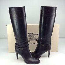 Burberry Finway 85 Gemello Black Leather Knee High Heel Stiletto Boots 10 EU 40