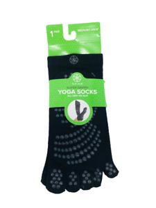Gaiam Yoga Socks Super Grippy No Slip Black Size Medium Large Toe Separater New
