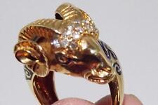 Antique 18K Gold & Diamond Golden Fleece (Ram) Ring, sz  adjustable 6-9