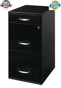 "Metal File Cabinet 3 Drawer 18"" Deep Home Office Filing Storage w/ Lock - Black"
