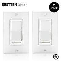 2 Pack Dimmer Switch for Dimmable LED Slide Dimmer Light Switch Decorator On/Off