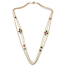 NEW Masino Collection Cluster Red Green Blue Gemed Tri Chain Necklace