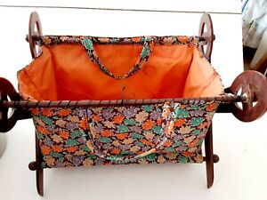 Vintage Plastic Sewing Basket Caddy Brown Multi Floral with Scissor Accent