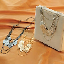 chunky statement layered silver leaf feather classic designer necklace Pendant