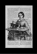 Lady on Sewing Machine Vintage ART PRINT ON OLD ANTIQUE BOOK PAGE Upcycled