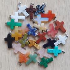 50pcs/lot Natural Stone Mixed Cross Shape Charms Pendant Bead Wholesale Free