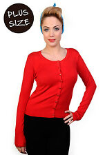 BANNED Plain Cardigan Super Soft Knit Top Sweater Plus Size UK 16 18 20 22 Red 4xl (uk 22)