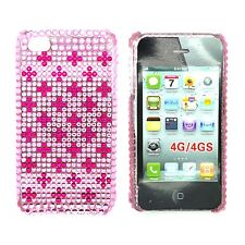 CASE FOR APPLE IPHONE 4 4S RHINESTONE DIAMANTE HOT PINK CROSS HARD BACK COVER
