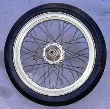 1960's? road race wheel with drop center Harley style alloy rim & Dunlop slick