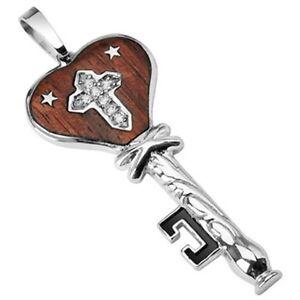 Stnlss Stl Wood Trim Heart Key Pendant w/2 Stars & CZ Gemmed Cross in Mddle P167