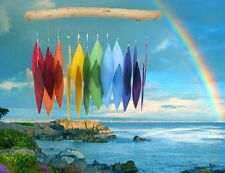 Rainbow Driftwood Chime Handmade Glass Wind Chime