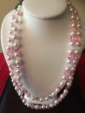 """Vintage Double Strand Pink Crystal Like Beads Faux Pearl Choker Necklace 12""""long"""