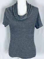 Jones New York Women's Medium Sweater Short Sleeve Cowl Neck Grey Glitter Silver