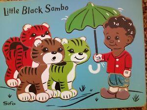 Little Black Sambo Wooden Blue Puzzle Black Americana