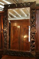 Grand miroir en chêne massif sculpté 19e de style Louis 13