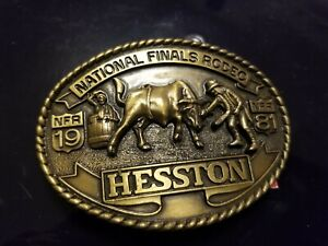 Advertising Hesston NFR National Finals Rodeo Belt Buckle Agco 1981
