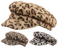 Leopard Print Baker Boy Hat Womans Newsboy Peaked Cap Girls Winter Hat Gift Idea