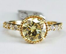 14K Yellow Gold Milgrain Fancy Yellow Cubic Zirconia Engagement Ring, 8mm CZ