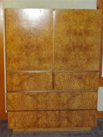 1970s Mid Century Lane Alpha Burl Bedroom Chest / Armoire