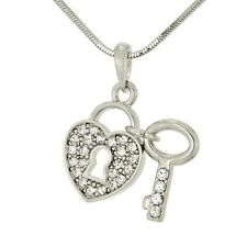 """W Swarovski Crystal Clear Key To The Heart Lock 18"""" Chain Pendant Necklace"""