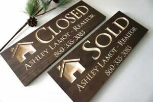 Realtor Client Sold Sign Carved Wood Real Estate Agent Sign Realty Business Sign