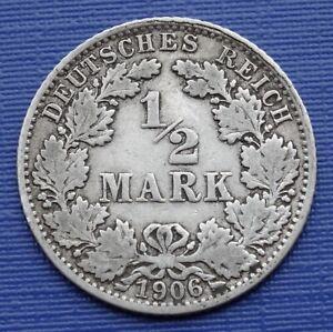Germany 1/2 Mark Coin, 1906 (J) Wilhelm II, KM#17~.900 Silver 2.7g~aVF~X009
