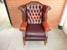 A Conker Brown Leather Chesterfield Queen Ann Wing chair ***DELIVERY AVAILABLE*