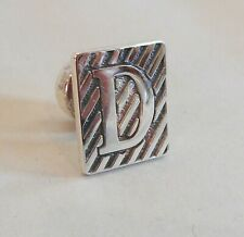 VINTAGE ENGLISH STERLING SILVER TIE PIN - LAPEL PIN - INITIAL - D -        SN87