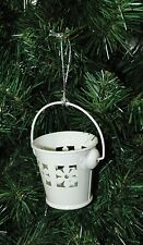 White Bucket, Pail With Flower Design Christmas Ornament