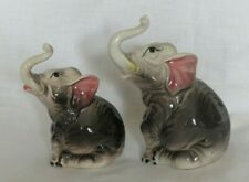 Vintage Elephants with Raised Trunk Up Figurines Showering of Good Luck