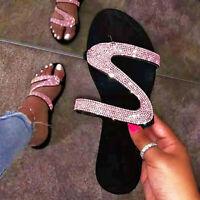 Slipper Sandals Slides Rhinestone Non-slip Flat Sandals Flips Flops Beach Shoes
