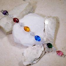 "35Ct Emerald Ruby Sapphire Amethyst Citrine Topaz Silver Bracelet 7"" Gbr177"